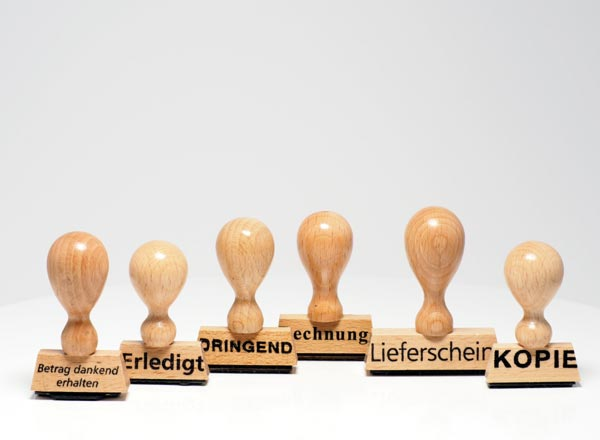 Holzstempel Lagertext