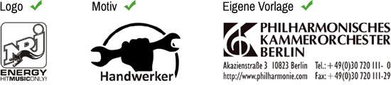 Vorlage hochladen Logo Motiv oder eigene Vorlage