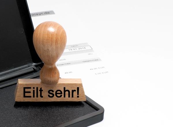 Holzstempel Lagertext (Eilt sehr!)