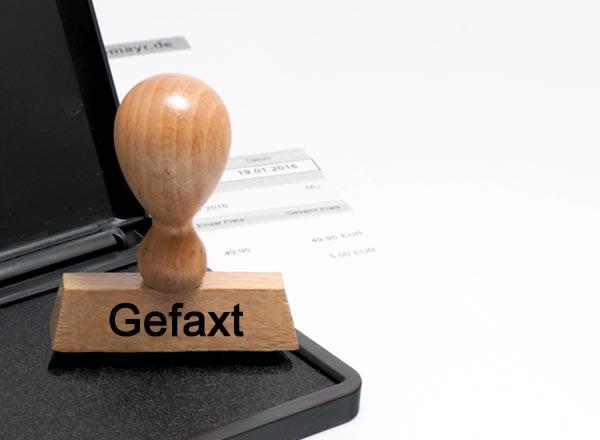 Holzstempel Lagertext (Gefaxt)