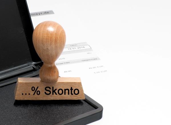 Holzstempel Lagertext (...% Skonto)