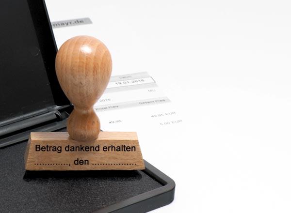Holzstempel Lagertext (Betrag dankend erhalten ... , den ...)